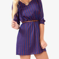 Vertical Striped Dress w/ Belt | FOREVER 21 - 2019572567