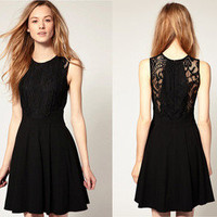 Sexy Black Lace Sleeveless Knee-Length Dress US XS/S/M/L