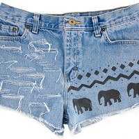 Tribal/Aztec Elephant Shorts Handpainted by floralfireworks