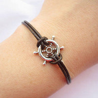 Braceletantique silver 3D little rudder&brown leather by lightenme