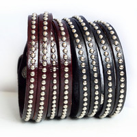 Leather Studded Silver Rivets Wrapped Bracelet