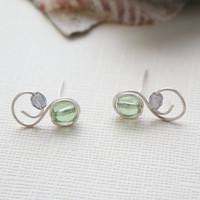 Earring studs swirl mint green beaded nickel by collscreations