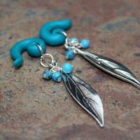 Leaf and turquoise bead Dangle Gauge Plug Earrings 8g-00g