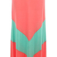 """if it's chevwrong i don't wanna be right"" skirt in coral with mint chevron stripe - three bird nest"