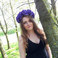 Floral crown flower crown rose crown headband wreath purple silk roses festival - 'Odessa'