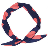 Navy/Pink Heart Wire Headwrap