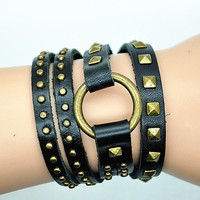 Wrap Bracelet Bangle Black Leather Bracelet Women Leather Cuff Bracelet , Bronze Rivet  Bracelet  RZ0299