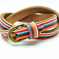 2x wrap Bracelet, Rainbow color leather jewelry bangle cuff, women Beach bracelet  RZ0316