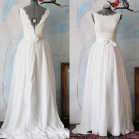 Custom Angie Wedding Dress Gown-Made to order-Deep V neck and Boat neck option-A line flowy chiffon with eyelet lace overlay