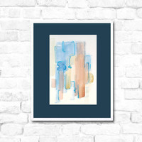 Watercolor Painting - original abstract fine art - pastels - blue brown - summer - river - modern fine art