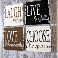Inspiration Quad SignsLive Love Laugh Happiness by cellardesigns