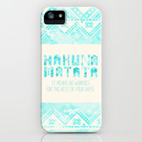 Hakuna Matata No Worries iPhone & iPod Case by Sara Eshak