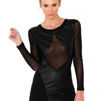 Missguided - Gallen Sheer Panel Leather Contrast Dress