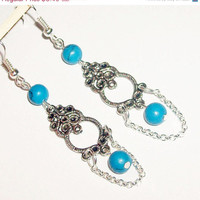 ON SALE Lovely antique dangle turquoise stone boho earrings natural feminine silver chic earrings mothers day gift
