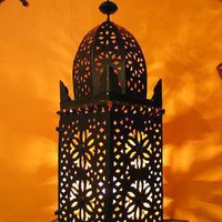 wired Minaret Lantern, Lanterns, Lamps from Morocco at Moroccan Caravan