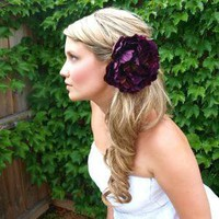 the bliss  Large Silk Peony Flower Hair Clip in Deep by Mandizzle
