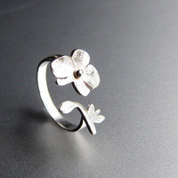 Orchid - Flower Ring - Handmade Sterling Silver Ring | SmilingSilverSmith Handmade Silver Rings & Jewelry