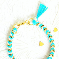 Neon Capri Blue & Neutral - Tiny Chevron Braided Modern Friendship Bracelet - Gold Chain