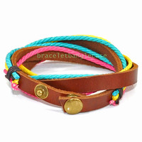 Bangle leather cuff bracelet women's cuff bracelet with leather and colorful hemp ropes men wrist bracelet friendship gift  d-378