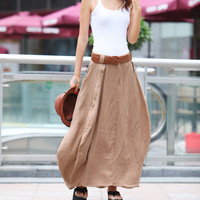 Romantic Khaki Pretty Linen Bud Long Maxi Skirt - NC341