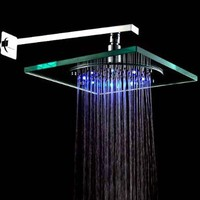 LightInTheBox 8 Inch Wall Mount Square Rainfall Showerhead with Build-in LED Light, Glass with Chrome Finish:Amazon:Home Improvement