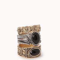 Antiqued Natural Stone Ring Set | FOREVER 21 - 1060210941