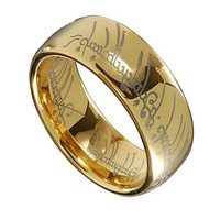 LOTR Gold Plated Tungsten Carbide Lord of the Ring Width 8mm Band Ring Size 7 - 13 R164