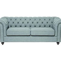 CHESTERFIELD BY DOMOSOFA: Sofa' Oxford 3 posti blu chiaro - 198x74x85 cm