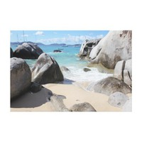 Scenic Beach at The Baths on Virgin Gorda, BVI Stretched Canvas Print from Zazzle.com