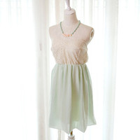Mint Green Chiffon Eyelet Lace Sweetheart bustline Dress -Alice in wonderland fairytale ballerina style Party Cocktail