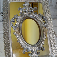 Silver and rhinestone mirror/frame set French provincial ornate wall decor embellished pieces Anita Spero