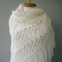 Ready to ship IVORY MOHAIR WARM TRIANGLE by sweetknitting