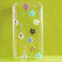 1PC Bling Crystal Colorful Resin Floral Hard Back Plastic Cover Case for iPhone 4 4s 4g 5