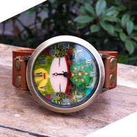 Retro style watch, personalized wrist watch bracelet, Brown Real Leather Bracelet  Watch, Handmade Women's Watch, Everyday Bracelet  PB045
