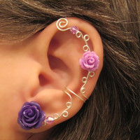 "Non Pierced Cartilage Cuff  ""Roses are Purple"" Ear Conch Cuff Color Choices Wedding Prom Quinceanera"