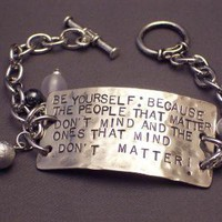Be Yourself Handstamped Bracelet by WireNWhimsy on Etsy