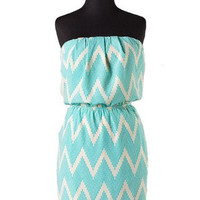 Destination Vacation Chevron Strapless Dress - White + Turquoise -  $50.00 | Daily Chic Dresses | International Shipping