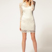 White Mini Dress - Bqueen Lace Dress With Scalloped | UsTrendy