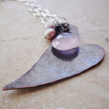 Oxidized copper hammered heart with chalcedony pink gem and freshwater pearls