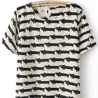 White Short Sleeve Overlay Cats Print T-shirt - Sheinside.com