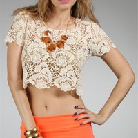 Ivory Damask Cropped Top
