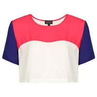 Crop Colourblock Tee - Tees & Tunics - Tops  - Clothing