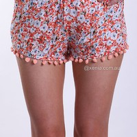 FLORAL POM POM HEM SHORTS , BOTTOMS, SALE,,Minis,Shorts Australia, Queensland, Brisbane