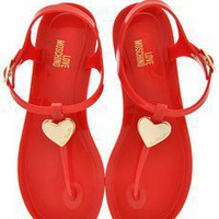 LOVE MOSCHINO LOVE RED Plastic Sandals - SHOES | SANDALS | PRET-A-BEAUTE.COM