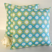 Beach pillow cover blue and green cushion Moda Seascapes 16 X 16 inches