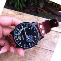 black face wrist watch, real brown leather wrist watch bracelet for men, men's wrist watch, boy wrist watch  PB047