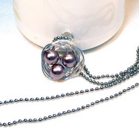Pearl Birds Nest Wire Wrapped Necklace