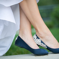Wedding Flats - Navy Blue Bridal Ballet Flats/Wedding Shoes with Ivory Lace Applique. US Size 7