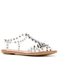 Jeffrey Campbell Sandal Puffer in Clear and Silver