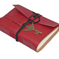 Red Vegan Faux Leather Journal with Winged Clock Key Bookmark